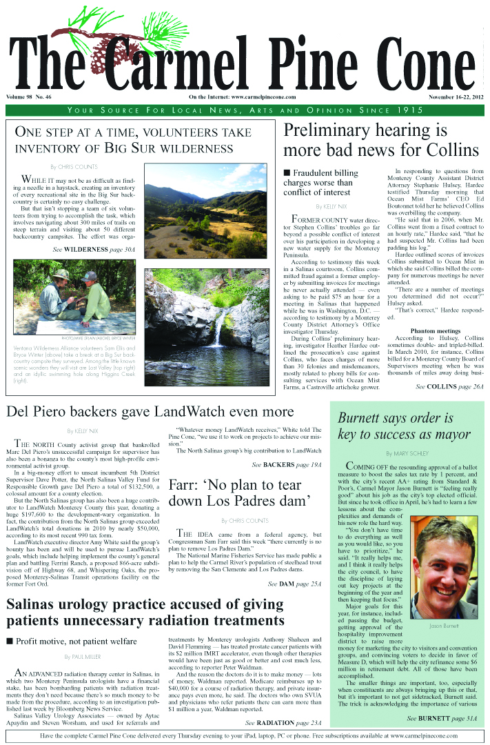 The November 16, 2012, front page of The Carmel                 Pine Cone