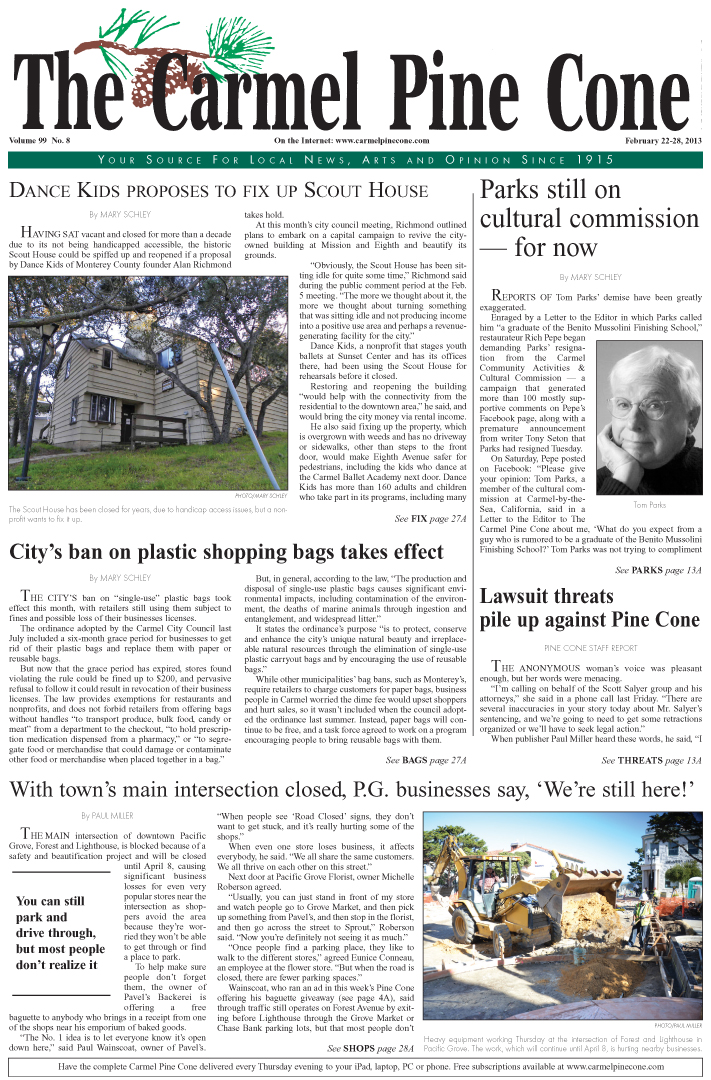 The February 22,                 2013, front page of The Carmel Pine Cone