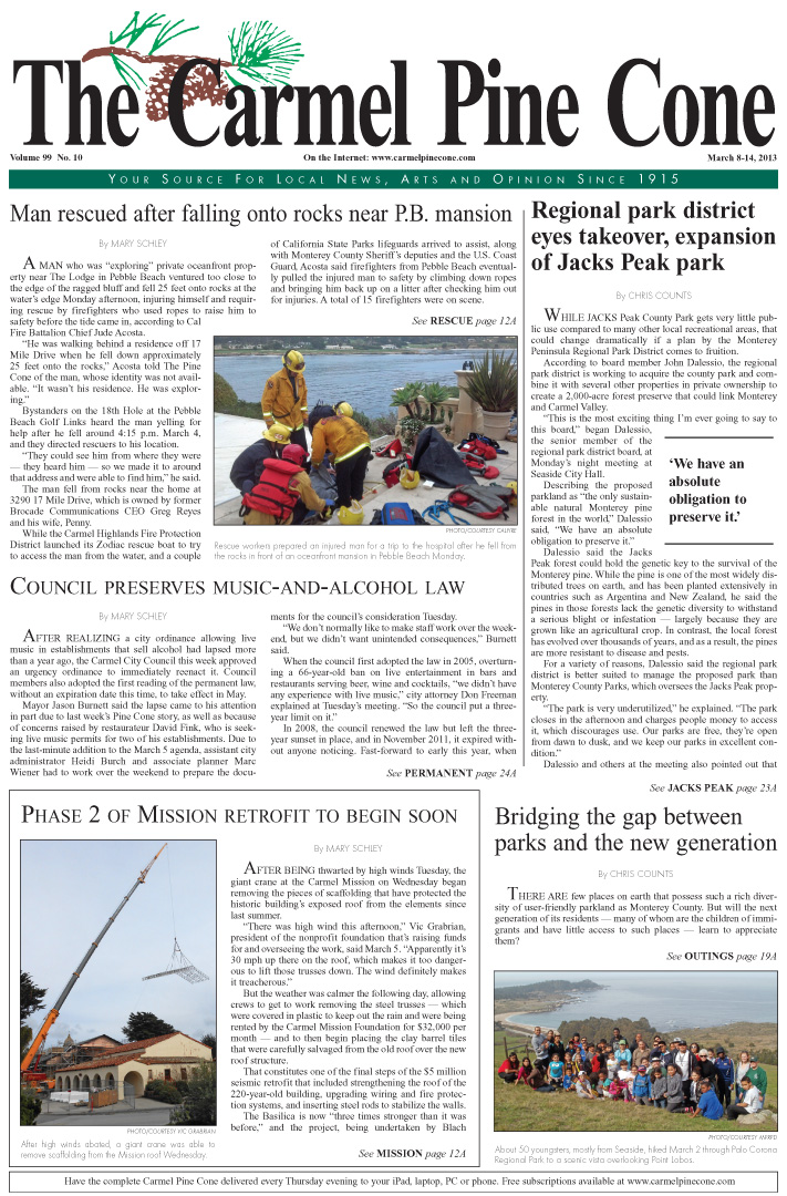 The March 8, 2013, front page of The Carmel Pine                 Cone