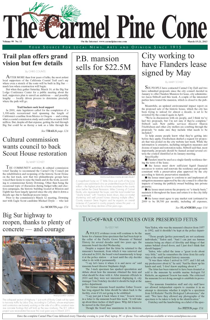 The March 15, 2013, front page of The Carmel Pine                 Cone