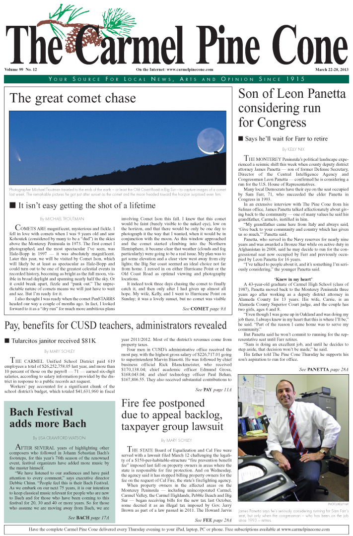 The March 22, 2013, front page of The Carmel Pine                 Cone