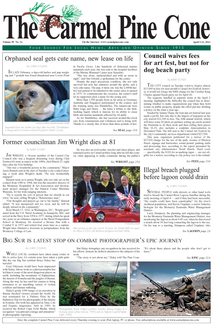 The April 5, 2013, front page of The Carmel Pine                 Cone