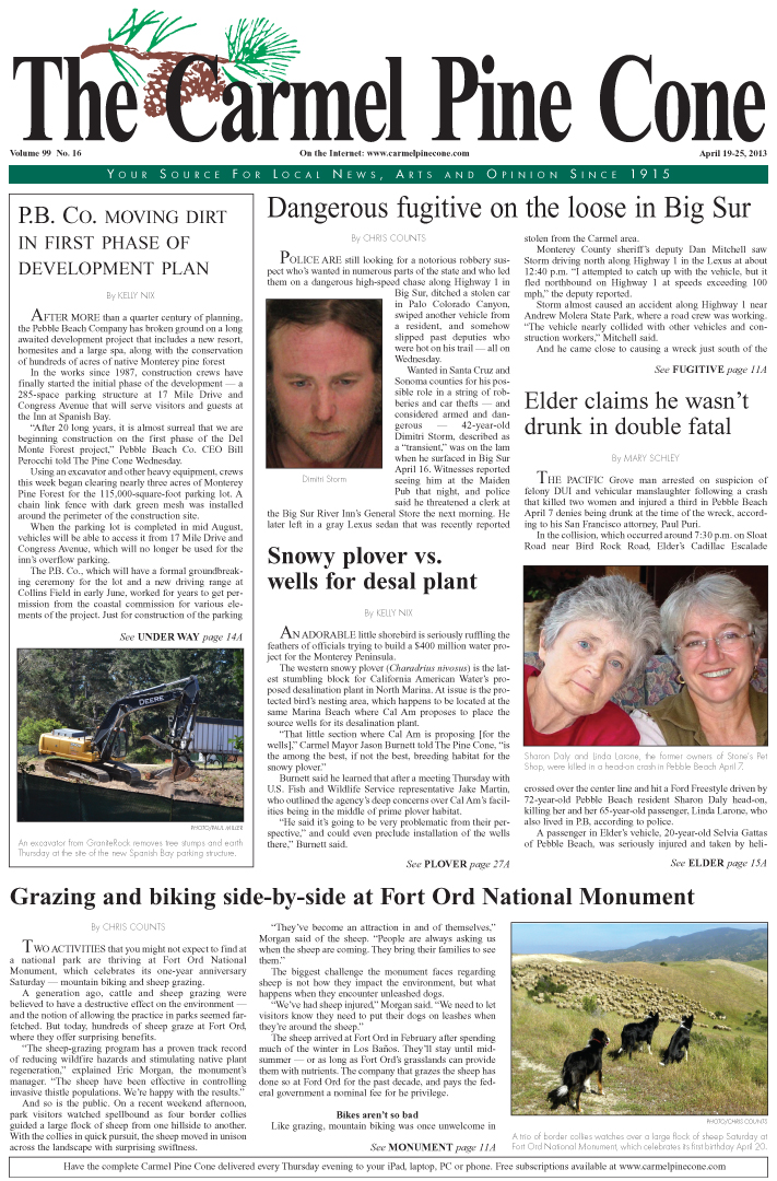 The April 19, 2013, front page of The Carmel Pine                 Cone