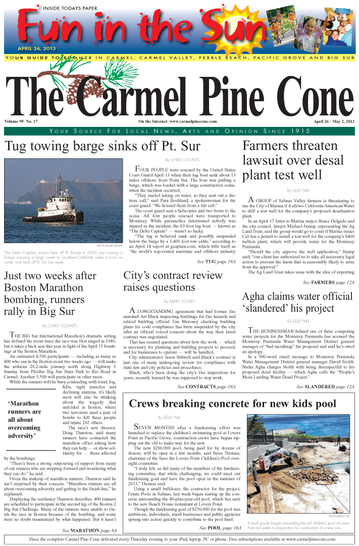 The April 26, 2013, front page of The Carmel Pine                 Cone