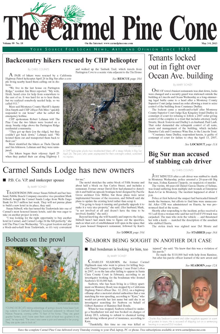 The May 3, 2013, front page of The Carmel Pine                 Cone