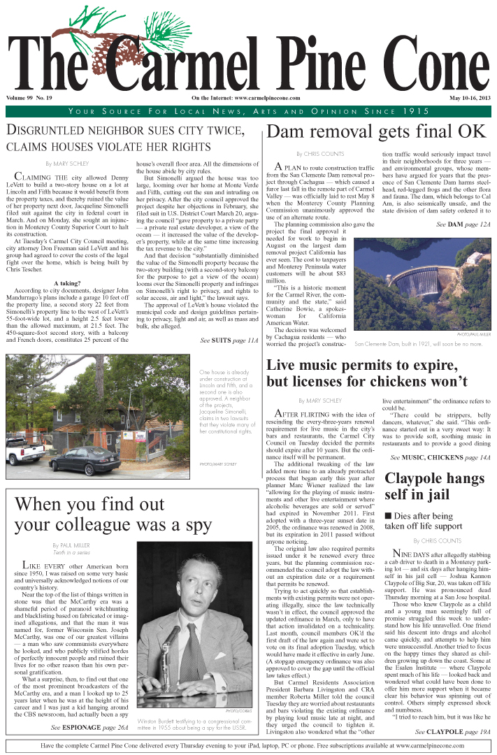 The May 10, 2013, front page of The Carmel Pine                 Cone