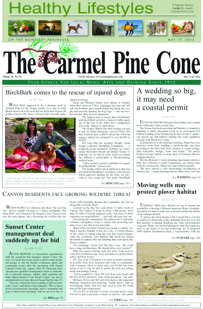The May 17, 2013, front page of The Carmel Pine                 Cone