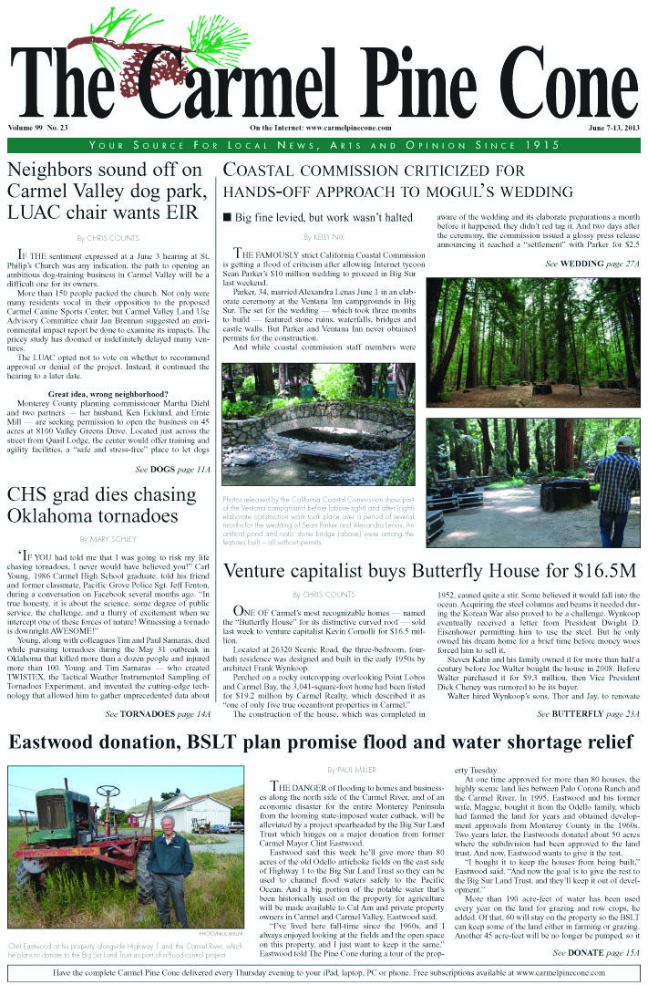 The June 7, 2013, front page of The Carmel Pine                 Cone