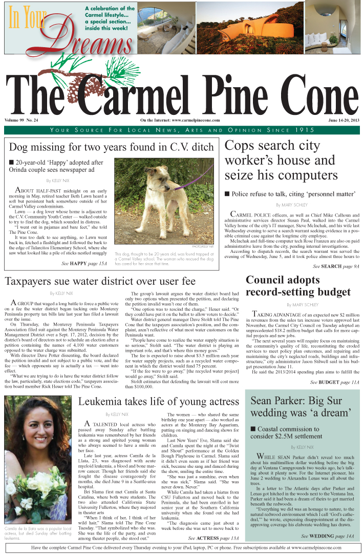 The June 14, 2013, front page of The Carmel Pine                 Cone