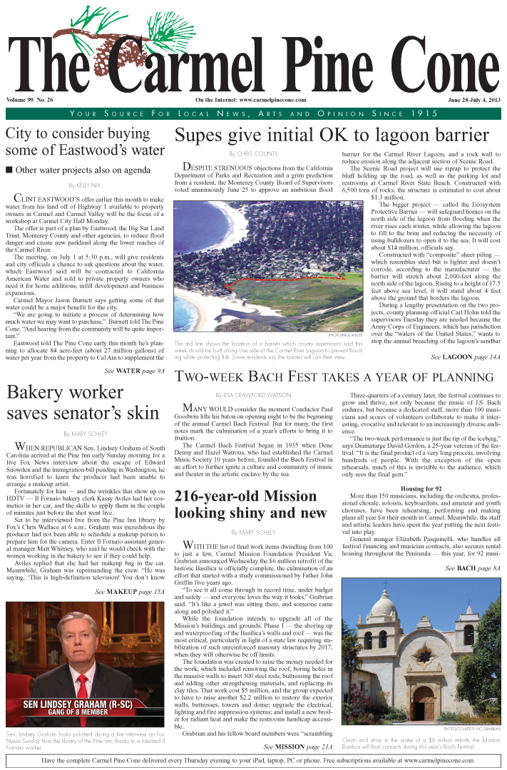 The June 28, 2013, front page of The Carmel Pine                 Cone