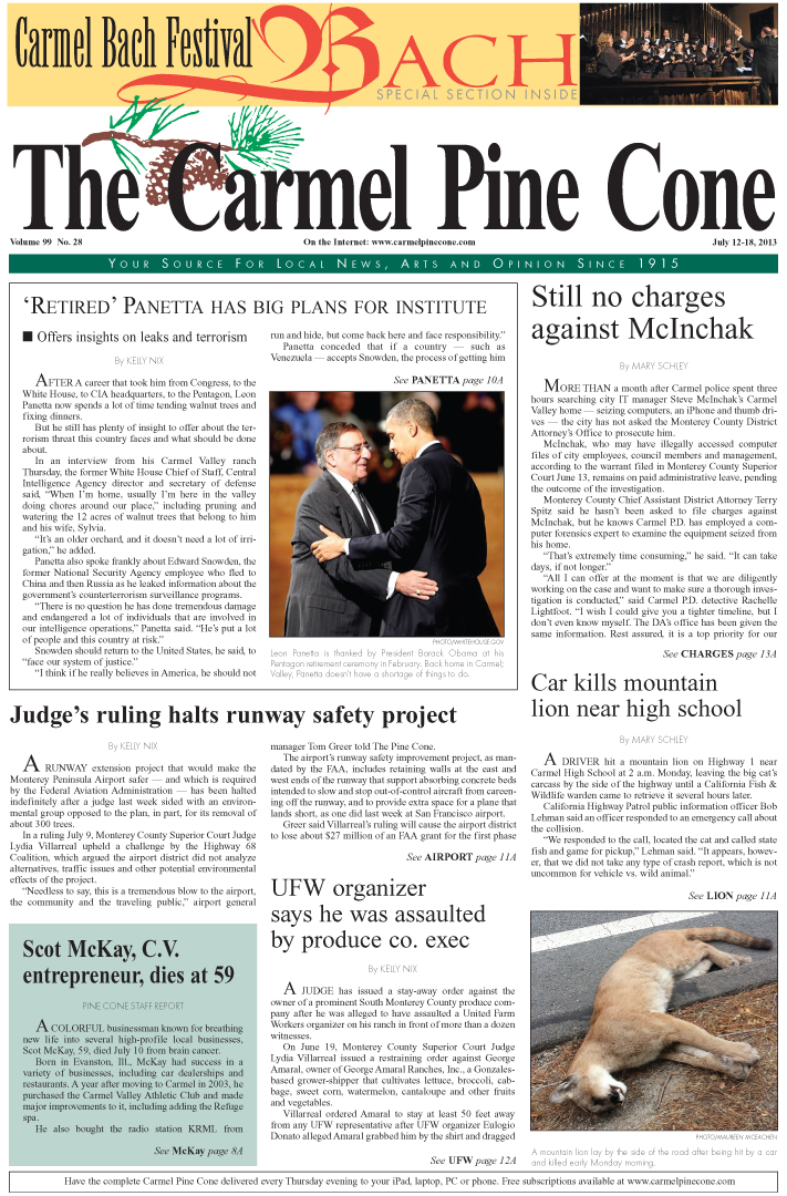 The July 12, 2013, front page of The Carmel Pine                 Cone