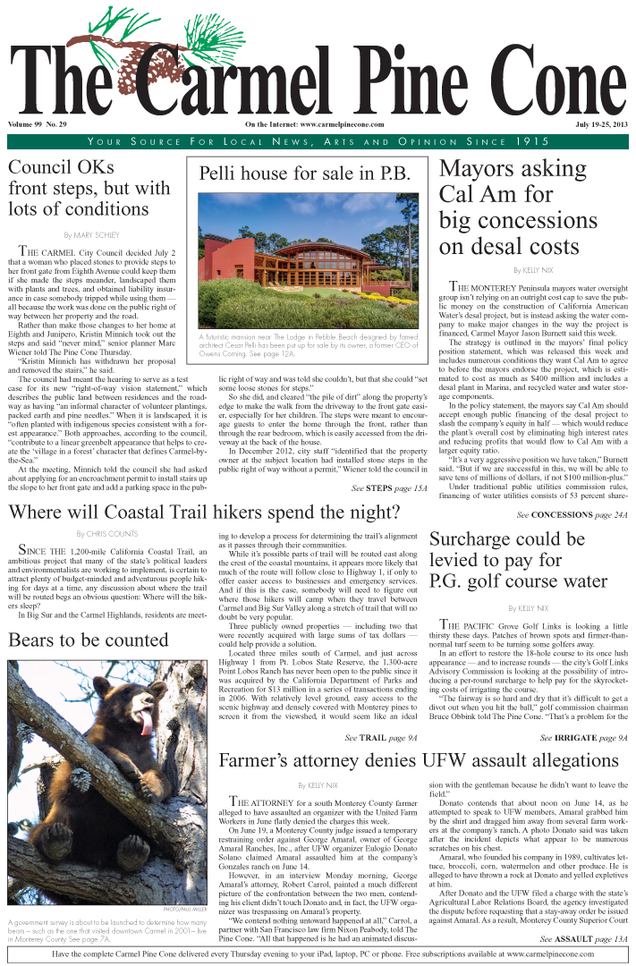 The July 19, 2013, front page of The Carmel Pine                 Cone