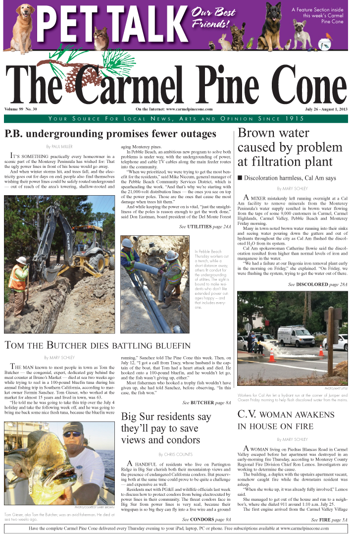 The July 26, 2013, front page of The Carmel Pine                 Cone