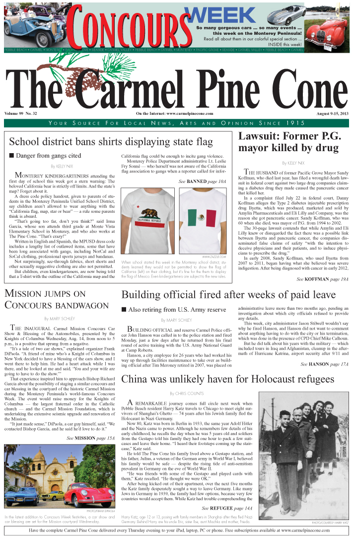 The August 9, 2013, front page of The Carmel Pine                 Cone