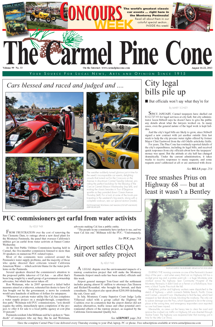 The August 16, 2013, front page of The Carmel Pine                 Cone