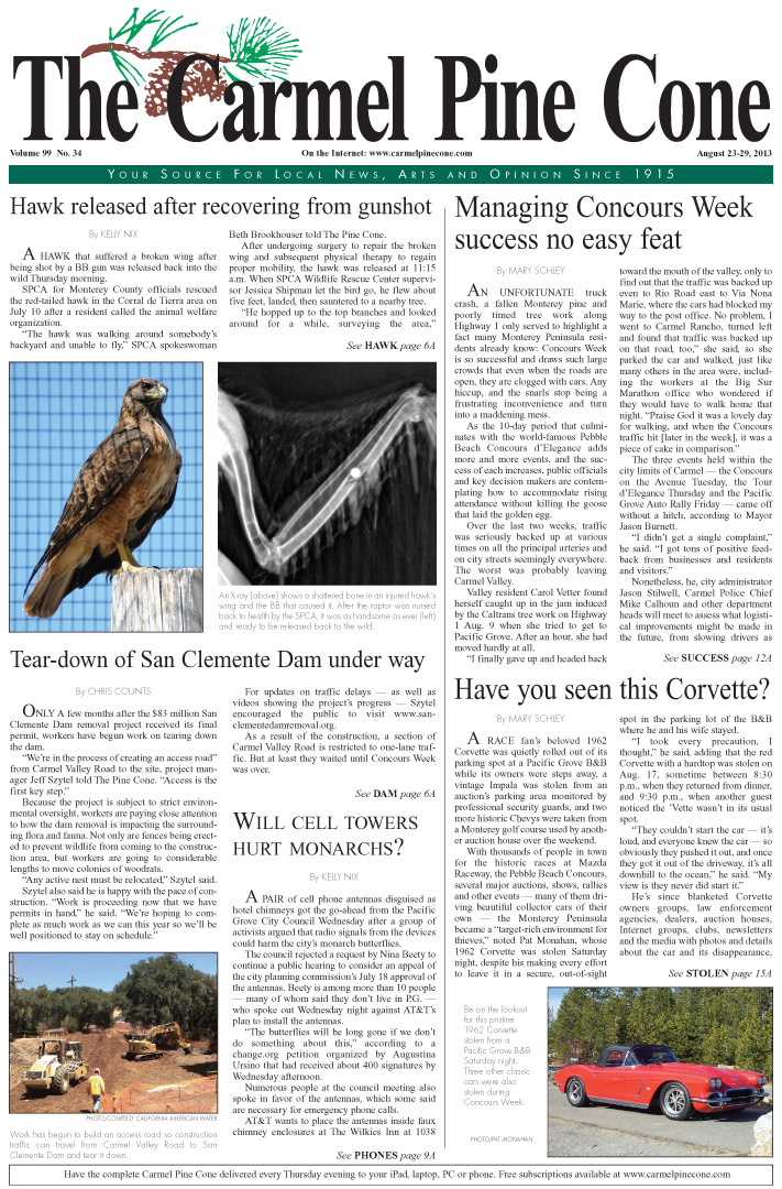 The August 23, 2013, front page of The Carmel Pine                 Cone