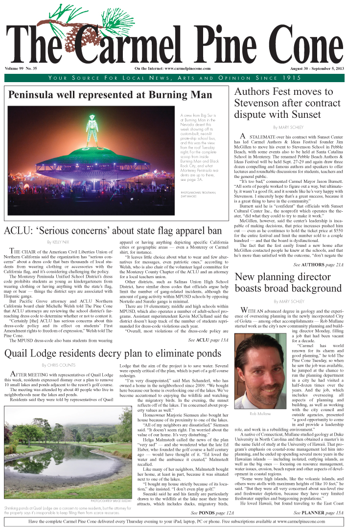 The August 30, 2013, front page of The Carmel Pine                 Cone
