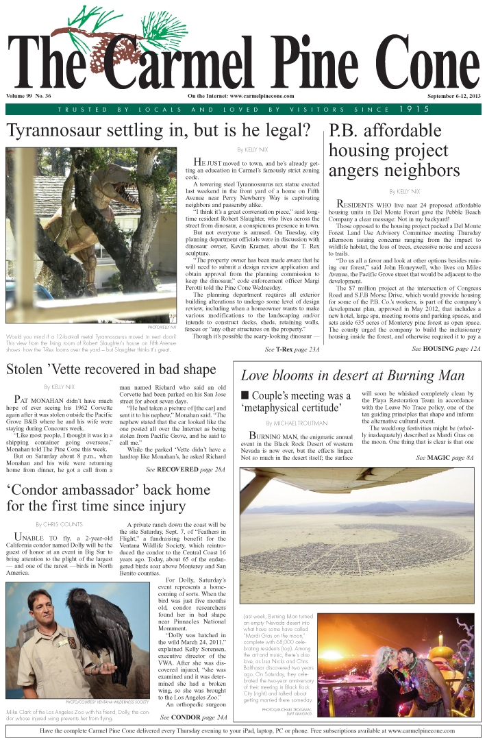 The September 6, 2013, front page of The Carmel                 Pine Cone