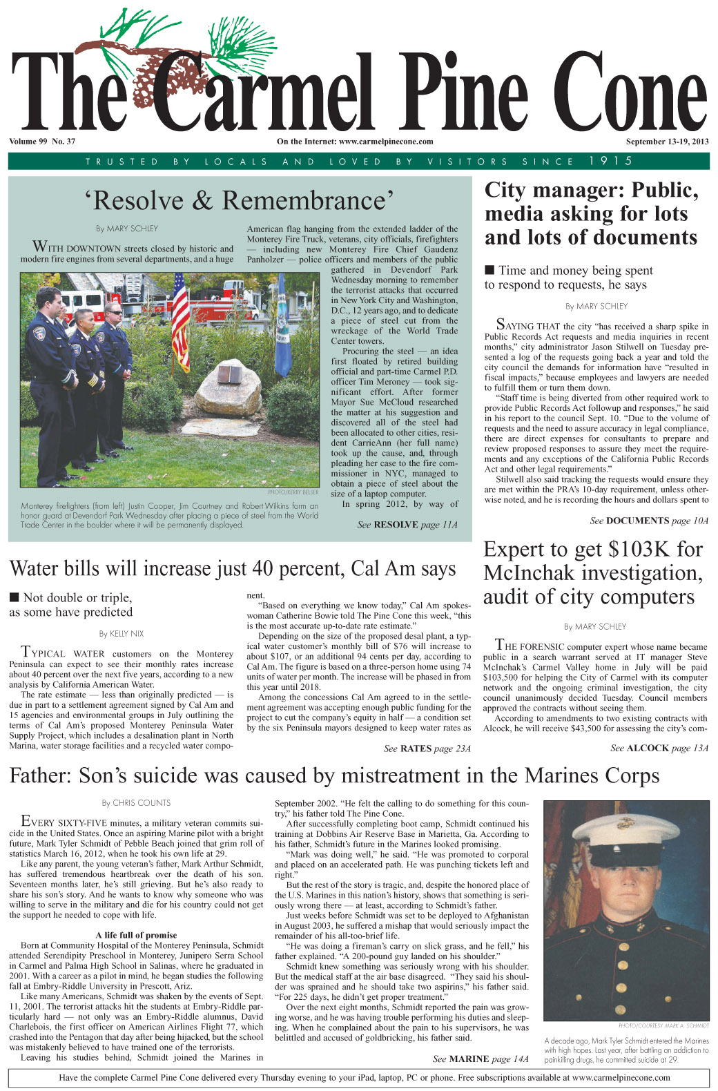The September 13, 2013, front page of The Carmel                 Pine Cone