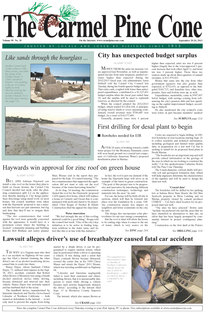 The September 20, 2013, front page of The Carmel                 Pine Cone
