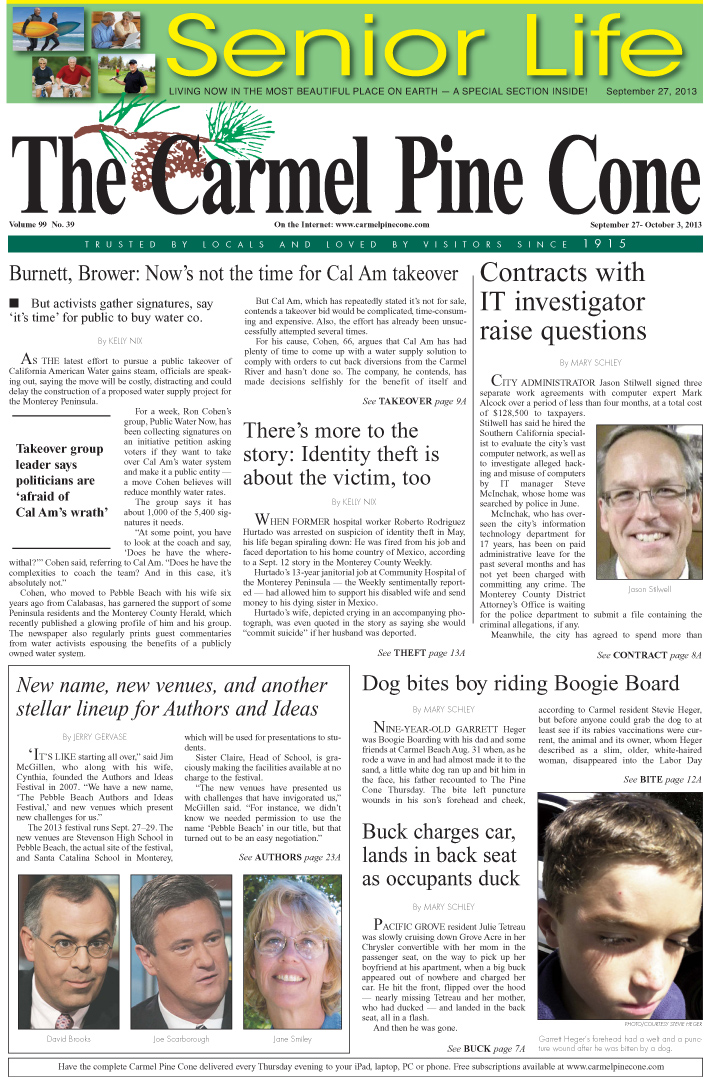 The September 27, 2013, front page of The Carmel                 Pine Cone