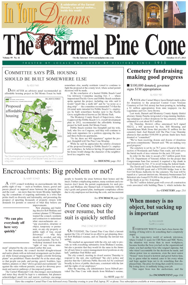 The October 11, 2013, front page of The Carmel Pine                 Cone