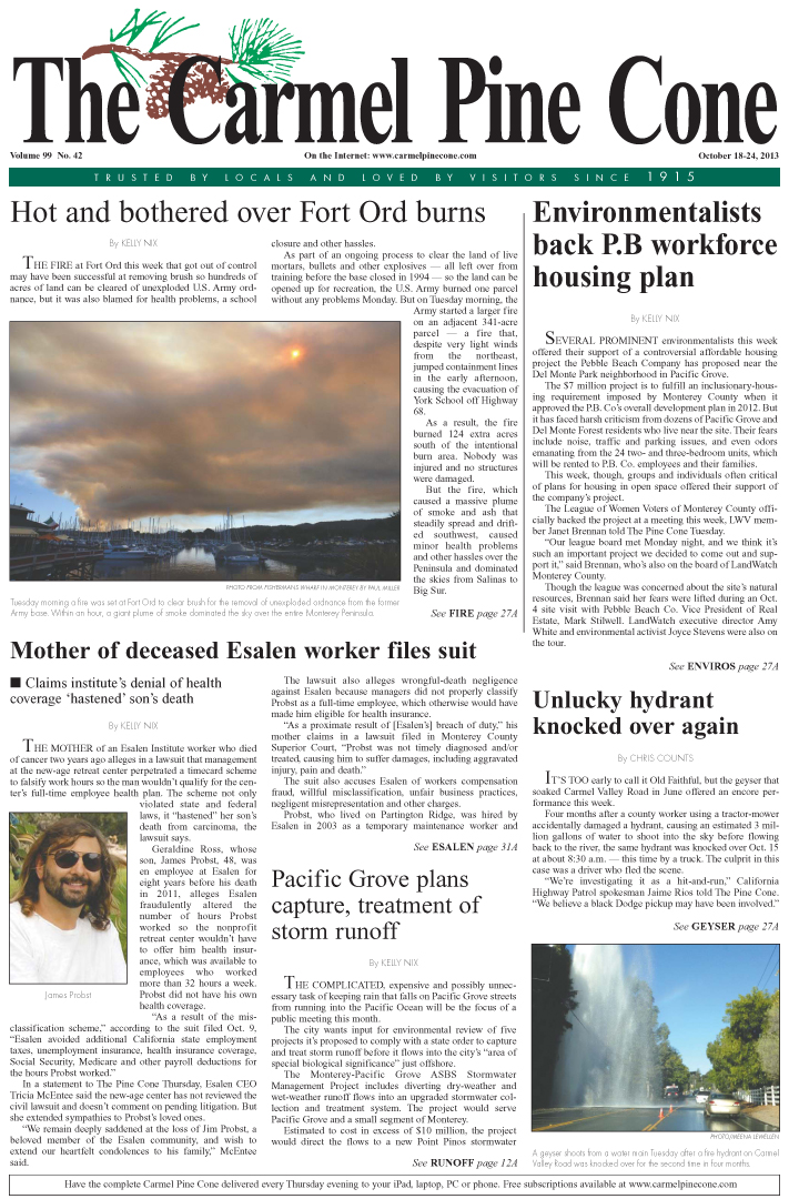 The October 18, 2013, front page of The Carmel Pine                 Cone