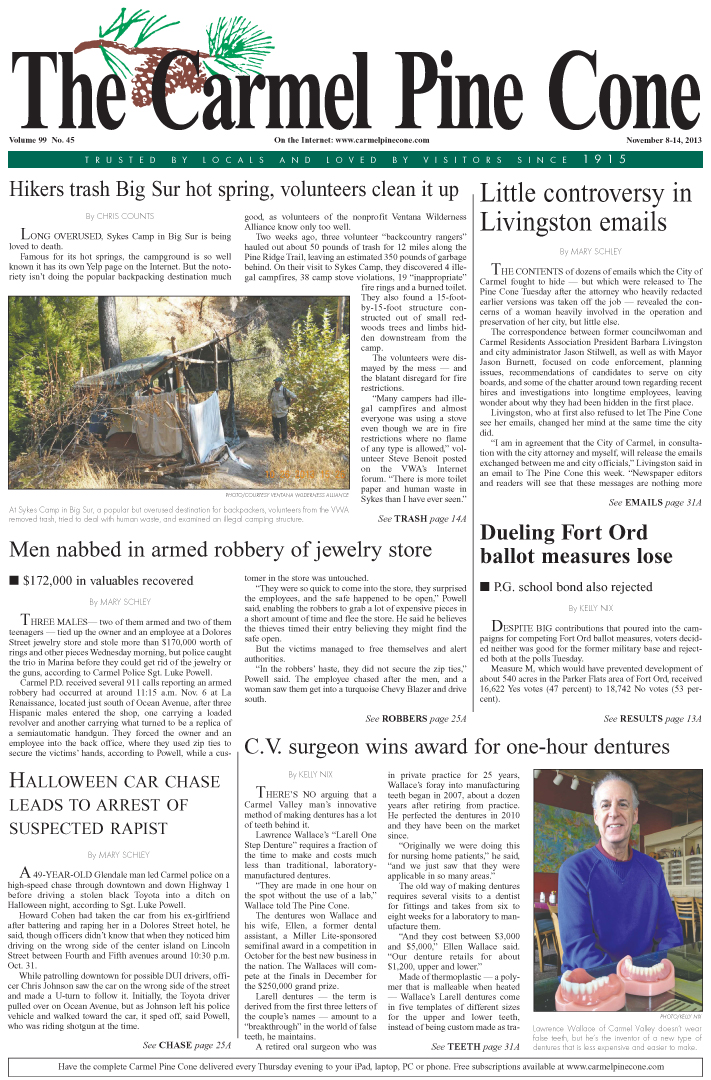 The November 8, 2013, front page of The Carmel Pine                 Cone