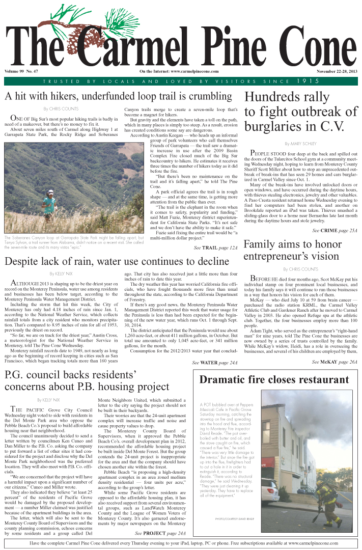 The November 22, 2013, front page of The Carmel                 Pine Cone