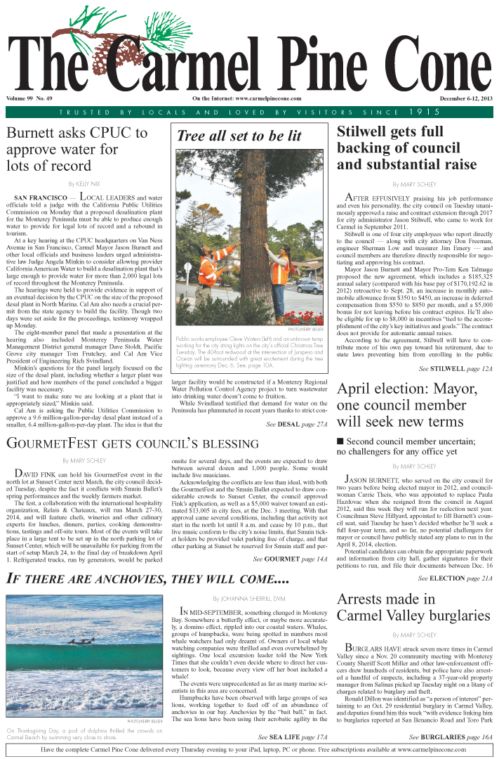 The December 6, 2013, front page of The Carmel Pine                 Cone