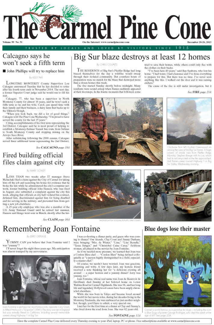 The December 20, 2013, front page of The Carmel                 Pine Cone