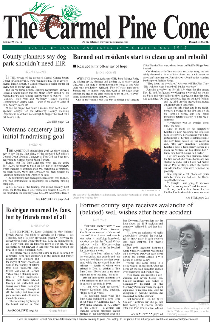 The December 27, 2013, front page of The Carmel                 Pine Cone