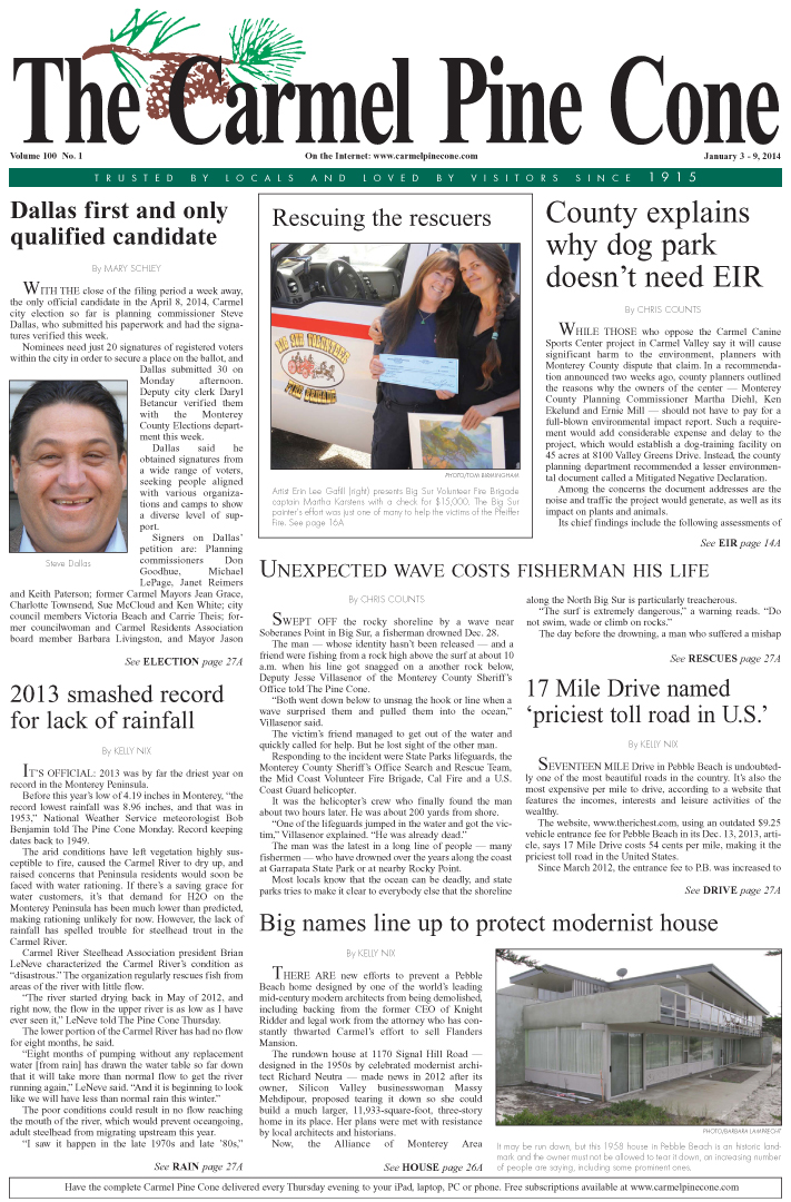 The January 3, 2014, front page of The Carmel Pine                 Cone