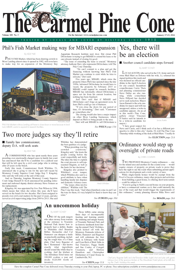 The January 17, 2014, front page of The Carmel Pine                 Cone
