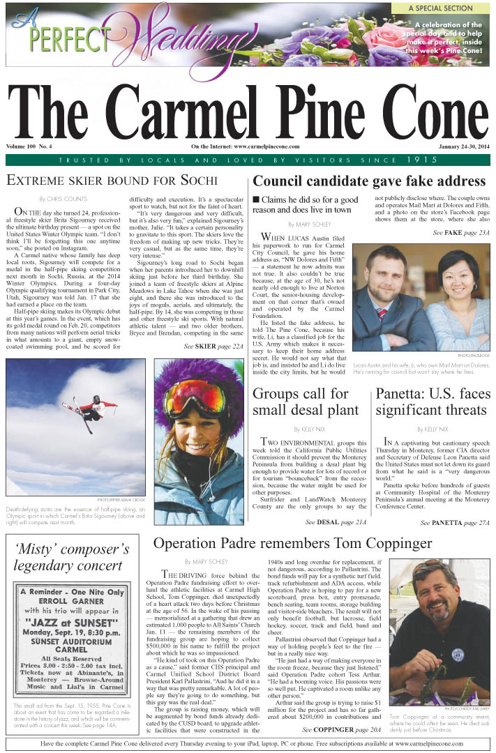 The January 24, 2014, front page of The Carmel Pine                 Cone