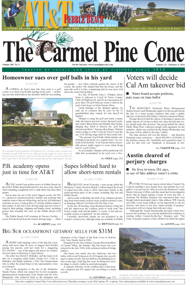 The January 31, 2014, front page of The Carmel Pine                 Cone