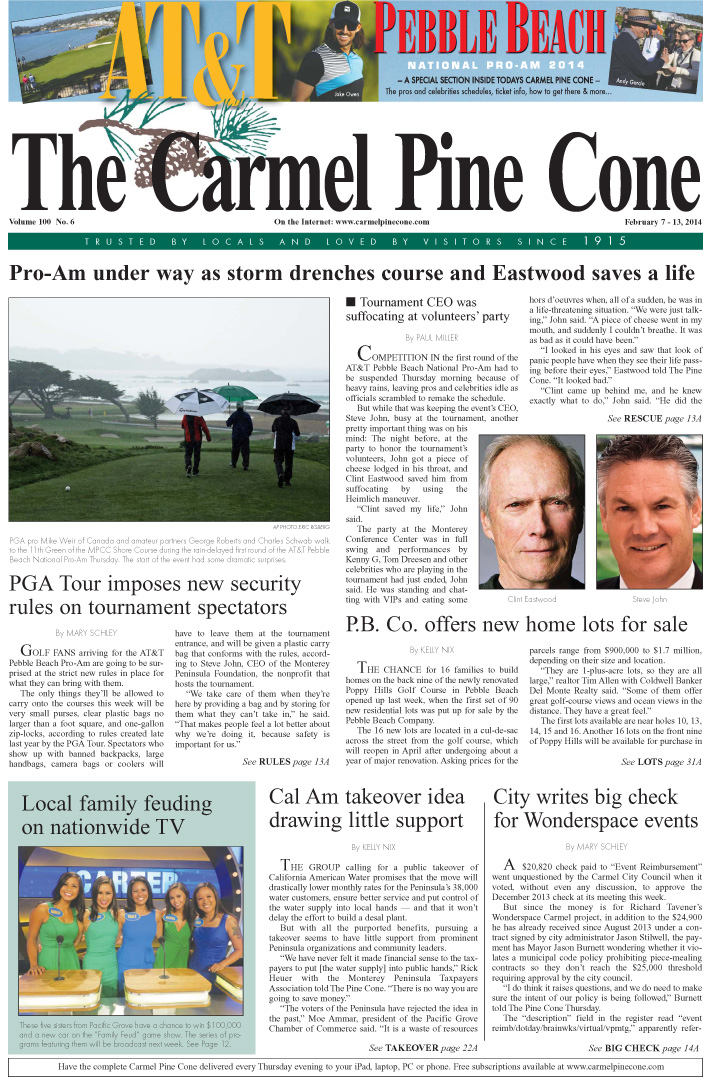 The February 7, 2014, front page of The Carmel Pine                 Cone