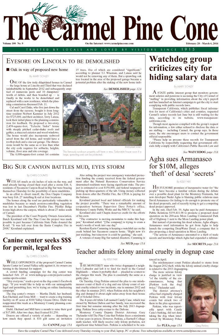 The February 28, 2014, front page of The Carmel                 Pine Cone