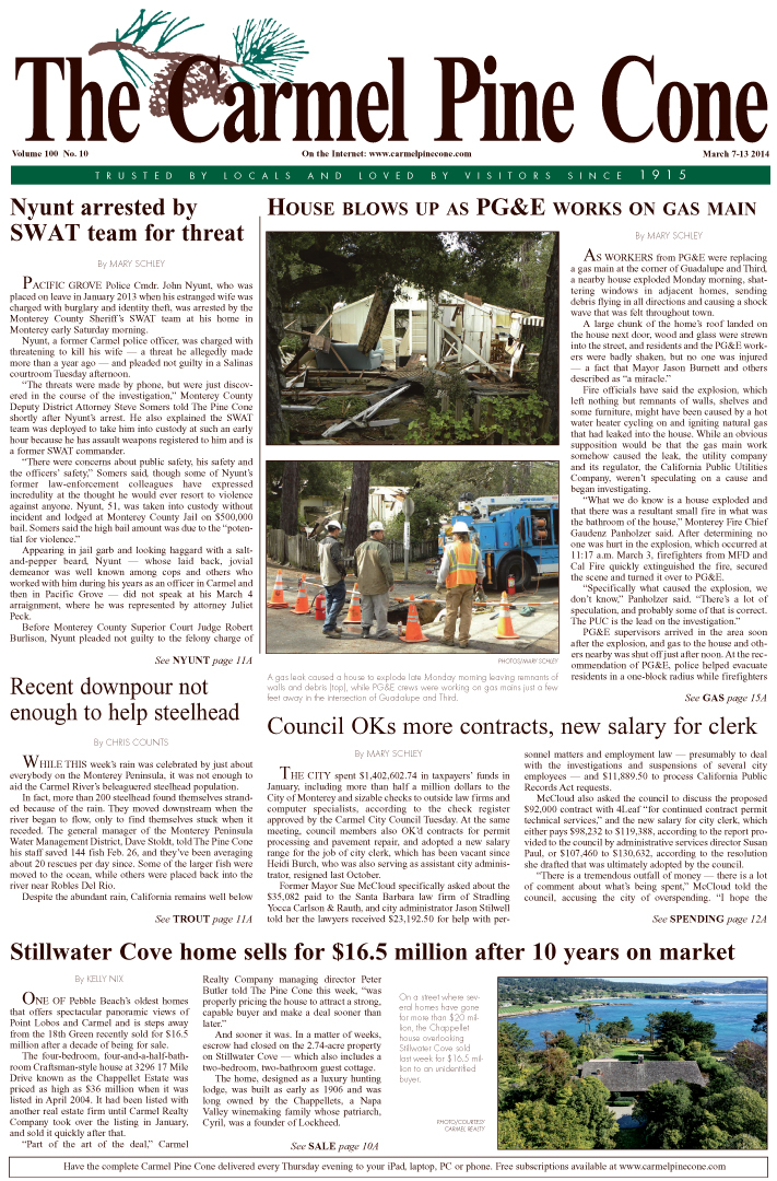 The March 7, 2014, front page of The Carmel Pine                 Cone
