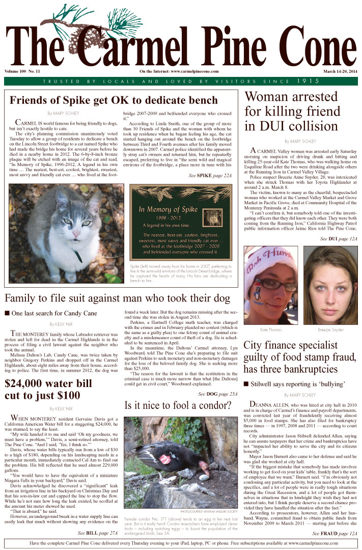 The March 14, 2014, front page of The Carmel Pine                 Cone