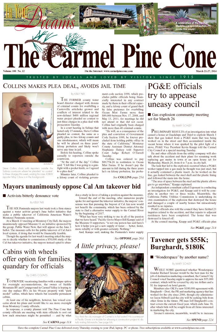 The March 21, 2014, front page of The Carmel Pine                 Cone