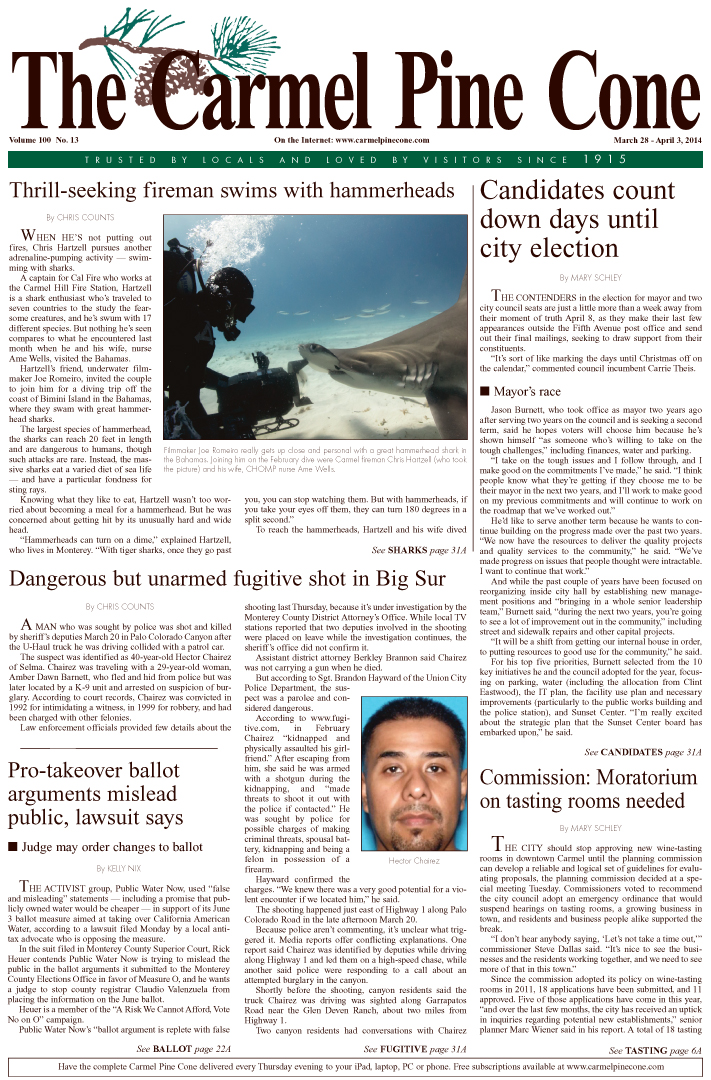 The March 28, 2014, front page of The Carmel Pine                 Cone