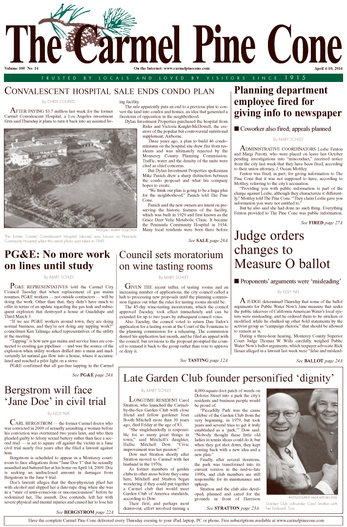 The April 4, 2014, front page of The Carmel Pine                 Cone
