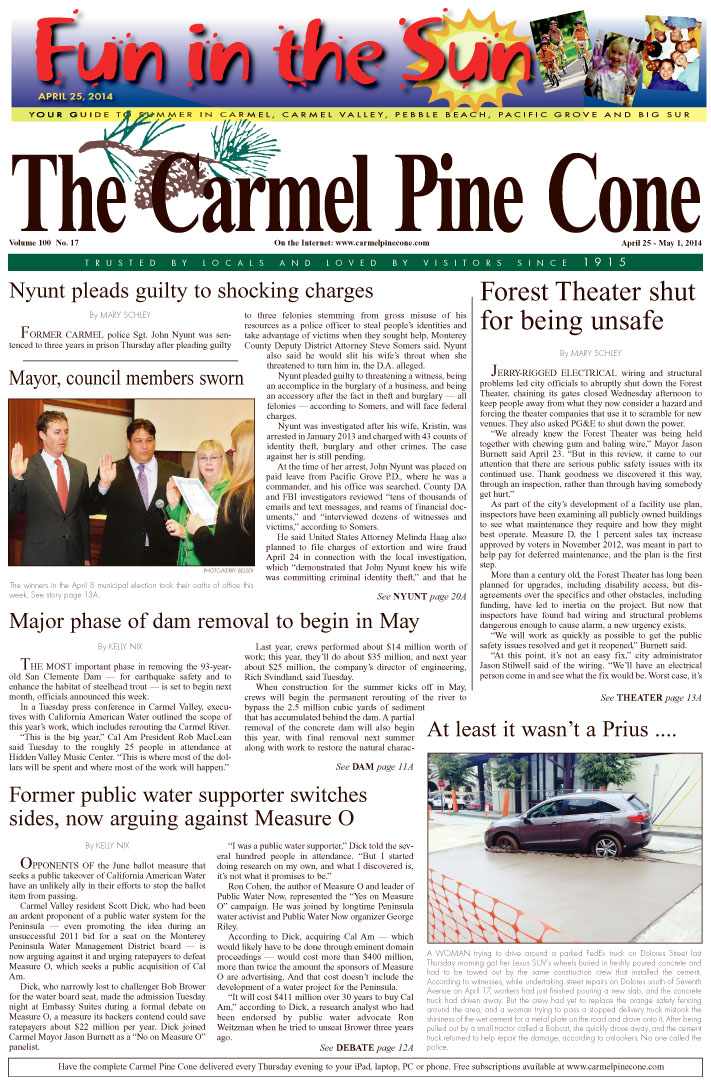 The April 18, 2014, front page of The Carmel Pine                 Cone