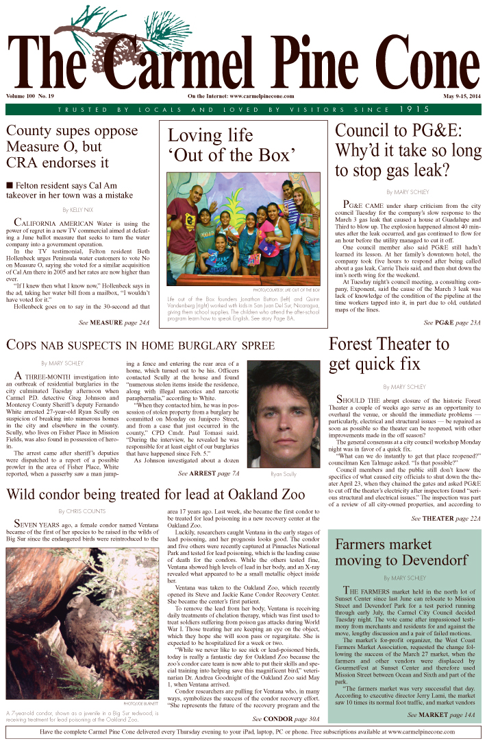 The May 2, 2014, front page of The Carmel Pine                 Cone