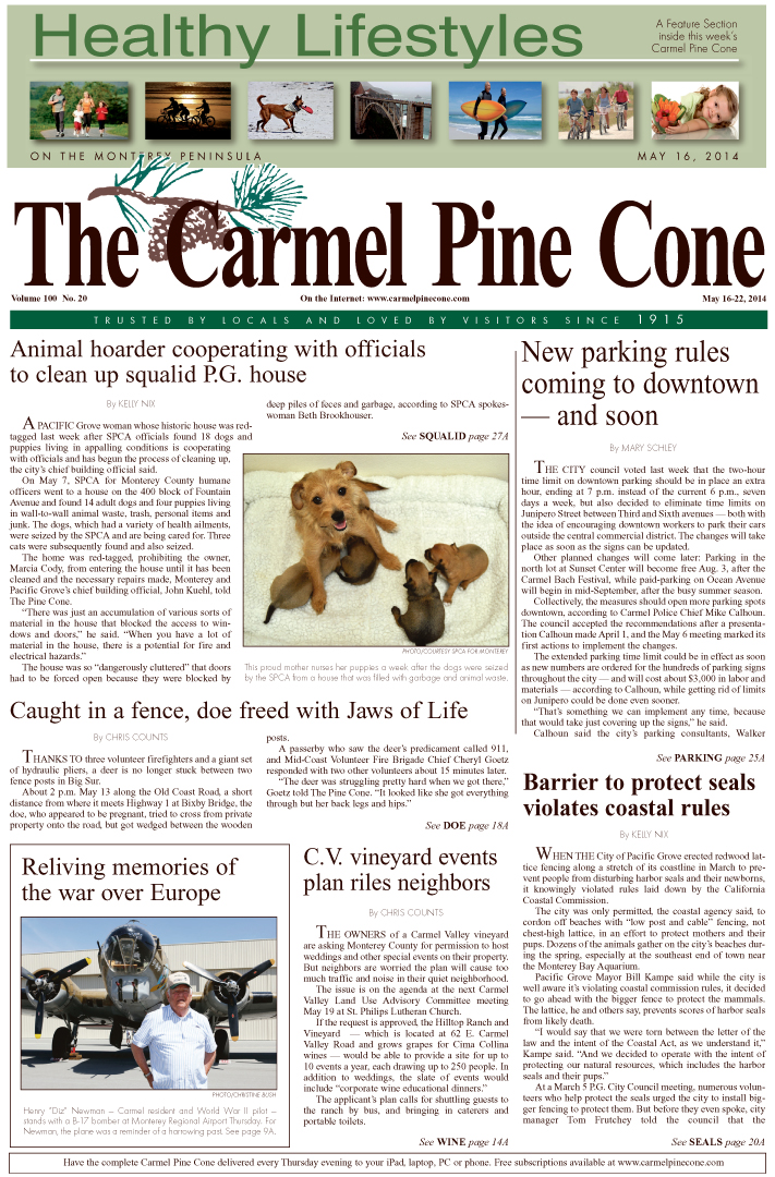 The May 16, 2014, front page of The Carmel Pine                 Cone