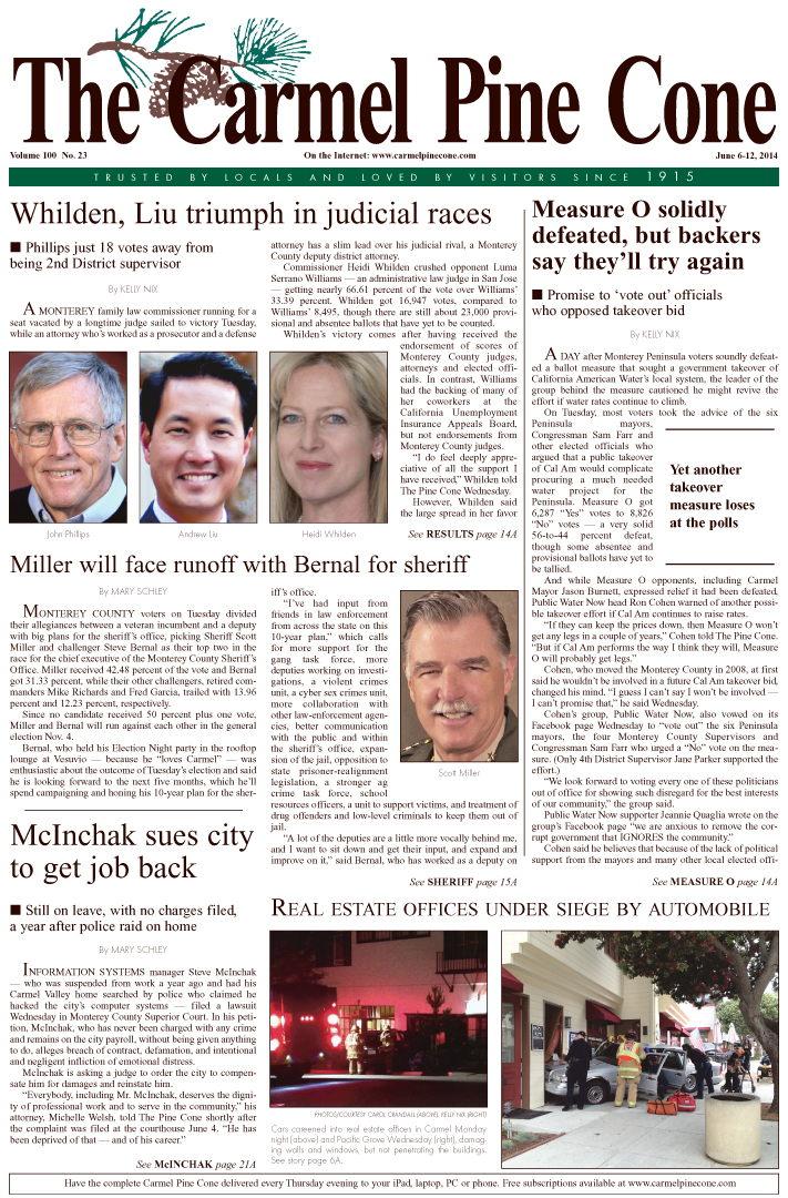 The May 30, 2014, front page of The Carmel Pine                 Cone