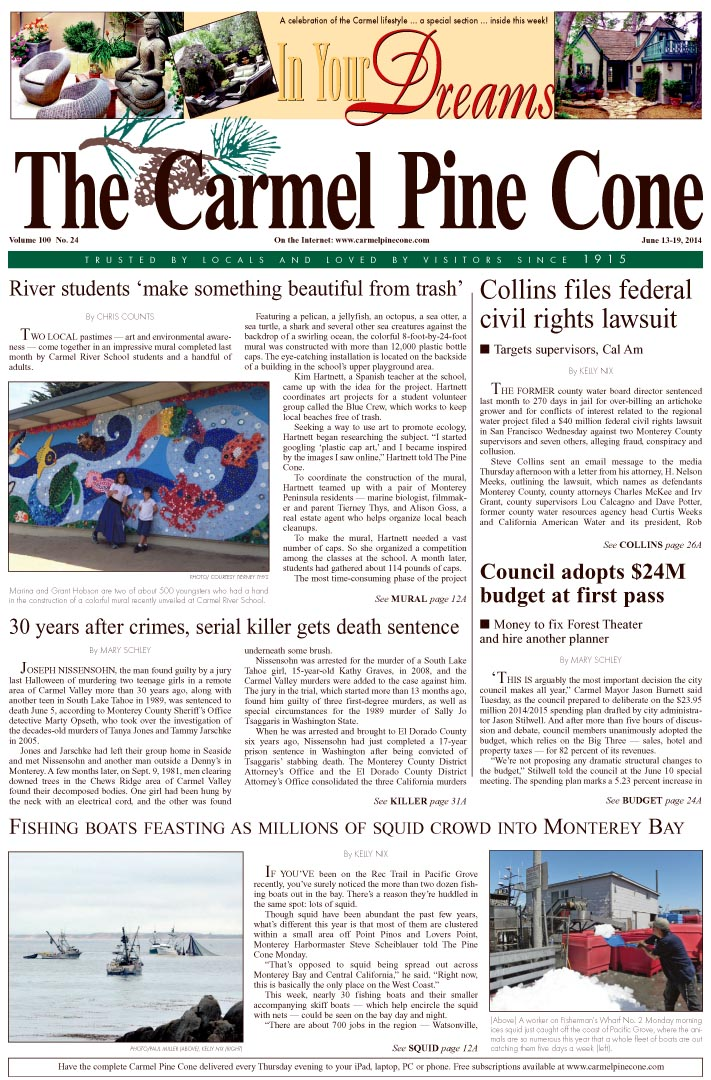 The June 13, 2014, front page of The Carmel Pine                 Cone