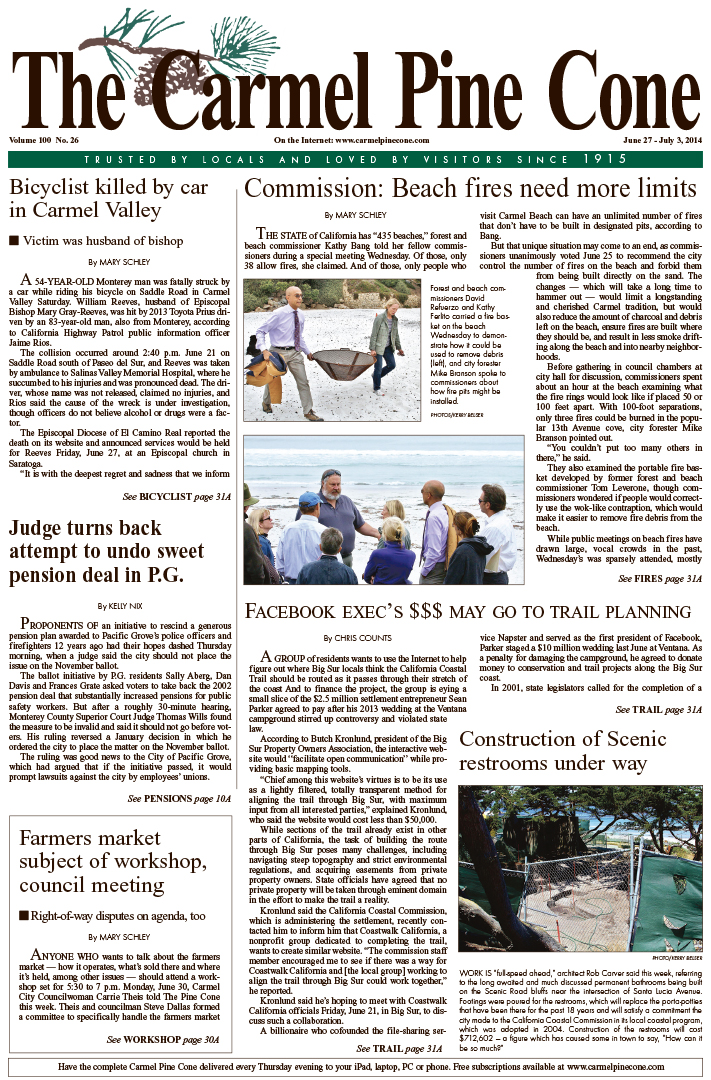 The June 27, 2014, front page of The Carmel Pine                 Cone