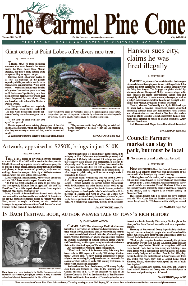 The July 4, 2014, front page of The Carmel Pine                 Cone